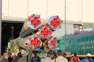 The Soyuz rolls out from the factory (Credit Space Affairs 2018)