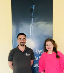 Niamh with Romain Charles, Crew support for ESA Astronaut Alexander Gets. Taken at Sputnik Hotel. (Credit: Niamh Shaw)